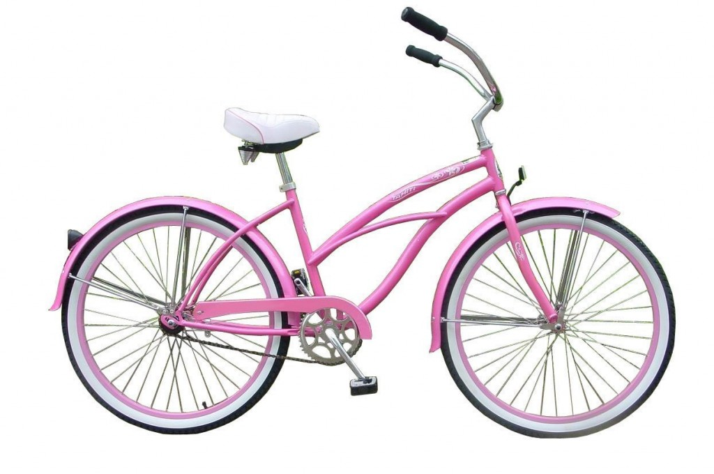 gorgeous pink beach cruiser bicycle