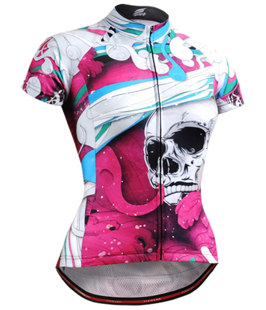 skull design pink and white bike shirt for women