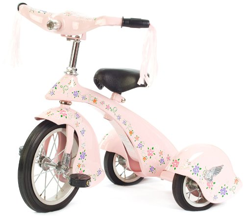 Flower Painted Retro Pink Tricycle for Toddler Girls
