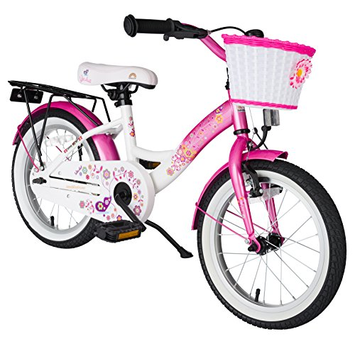 16 Inch Pink and White Bicycle for Girls Ages 5