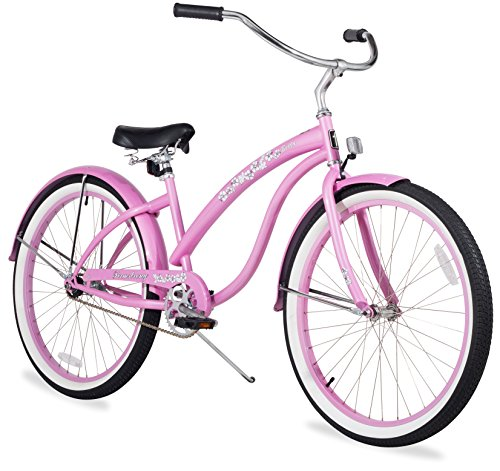 26 Inch Classic Beach Cruiser Bicycle, Floral Pink
