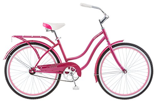 "24"" Retro Pink Beach Cruiser Bicycle for Short Women"