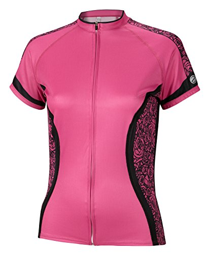 Comfortable Hot Pink Cycling Jersey with Black Roses Design