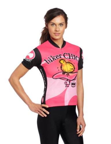 Women's Pink and Black Biker Chick Cycling Jersey