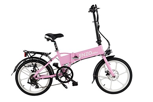 Light Pink Electric Folding Aluminum Bicycle