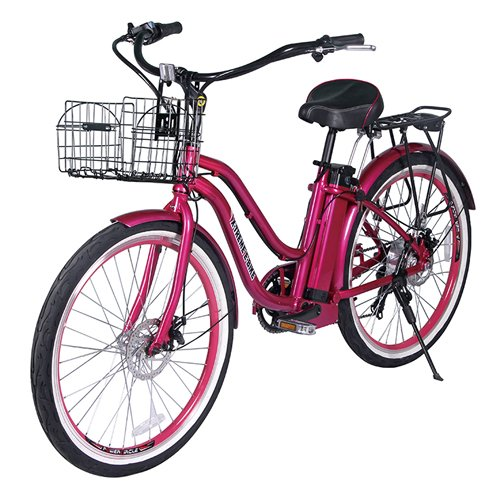 Hot Pink Electric Beach Cruiser Bicycle