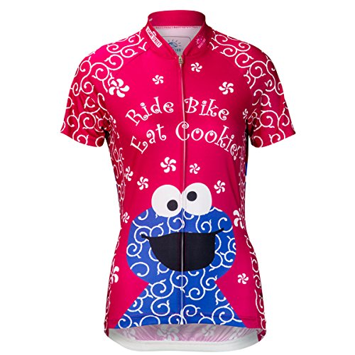 Fun Cookie Monster Design Hot Pink Cycling Jersey