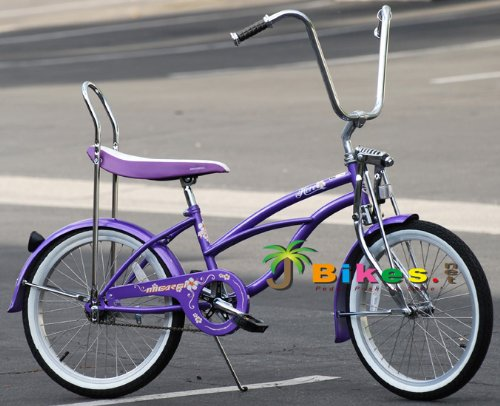 Retro Style Purple Beach Cruiser Bicycle with Banana Seat